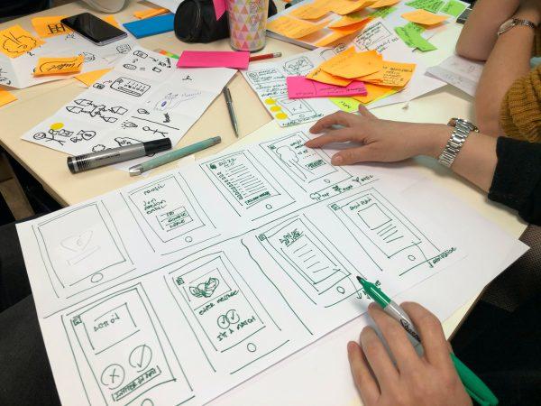Afbeelding met hierop een uitwerking van een brainstorm sessie