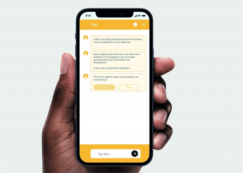 Schermafbeelding van het prototype van de app Didi