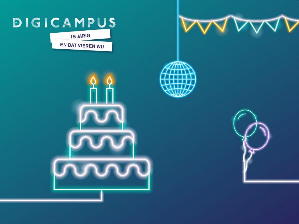 Beeld waarop een taart, vlaggetjes en ballon in neonletters te zien zijn.