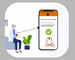 Een animatietekening met hierop een scherm van een telefoon waarop een beveiligingsapp wordt getoond