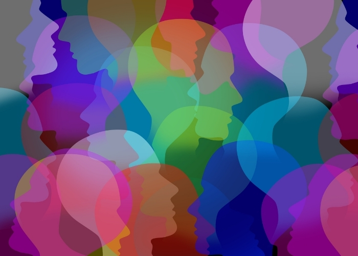 Een afbeelding met hierop hoofden van mensen in verschillende kleuren