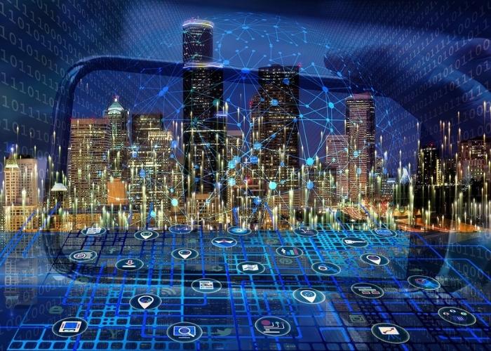 Afbeelding van een digitale stad bekeken door een scherm