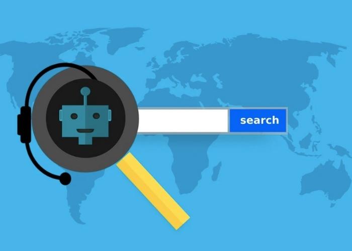 Een afbeelding waarop een wereldkaart staat afgebeeld en een zoekbalk